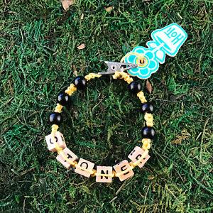 HOTI Hemp Handmade Stoner Yellow Black Roach Clip It Word Bracelet Wood Beaded