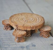 Woodland Table and Stool Set Fairy cottage Home Garden Craft Décor