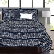 Raymond Waites Kyoko Bedding 5 Piece KING Comforter Set Navy Blue / White