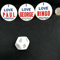 I Love Paul Ringo George The Beatles 2 Inch Pin/Button Made in USA Set of 3 80s?