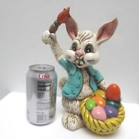"Vintage Atlantic Mold Easter Bunny with Paintbrush and Eggs 1970s 9.75"" Tall"