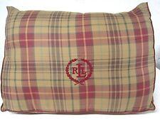RALPH LAUREN Monogram Preppy Tan & Red Plaid LUMBAR WEDGE Reading Support Pillow
