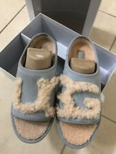 NIB UGG Light Blue SHEEPSKIN UGG LOGO SLIDE SLIPPERS Size 7