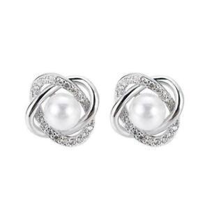 Elegante Ohrstecker für Frauen 925 Silver Pearl Hochzeitsschmuck Geschenk R4M7