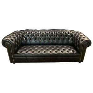 Chesterfield 3 Seater Sofa Black Leather Double Gestept Company From Wilmowsky