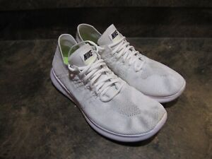 NIKE FREE RN FLYKNIT MENS 9.5 CREAM WHITE EUC SNEAKERS see pics-details