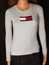 Tommy Hilfiger Flag Logo Womens Size Extra Small XS Blue Long Sleeve Pullover