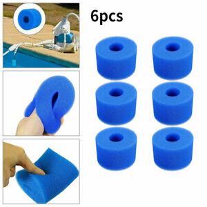 6Pcs Foam Spa Hot Tub Filters V1 S1 Washable Bio Sponge Intex Reusable Blue Hot