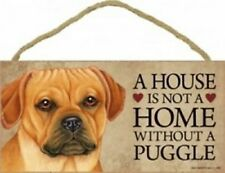 "A House is not a Home without a Puggle Dog Sign 5""x10"" Cute Wood Plaque New S70"