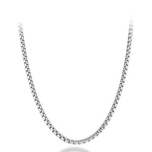 """Solid 925 Sterling Silver 3mm Round Box Chain Necklace 18""""-28"""" for Women & Men"""