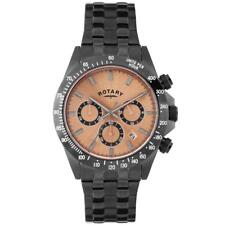 Rotary GB00153/25S Men's Black Ion Plated Rose Dial Chronograph Watch RRP £259