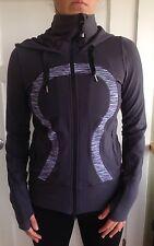 Lululemon Size 4 Stride Hoodie Zip Up Jacket Grey Wee Stripe EUC Define &go Run