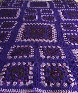 Vintage Hand Crocheted Purple Afghan Granny Square                      G