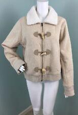 NWT Womens Ralph Lauren Jeans Co. Beige Faux Shearling Zip/Toggle Jacket Sz XL