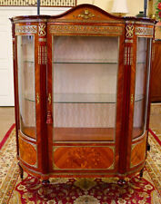 Stunning Italian Inlaid Bronze Mounted Vitrine Curio China Display Cabinet