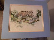Completed Elsa Williams RUTH BASLER BURR Cross Stitch ENGLISH COTTAGE -JCA 12x14