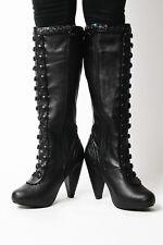 T.U.K. Size 7 A8184L $107 Black Faux Corset Lace Boots Zip Heels TUK Vegan NIB