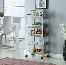 Silver 5 Tier Mesh Rolling Cart Trolley Storage Rack Wheel for Kitchen Bathroom