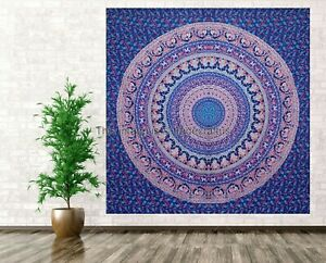 Indian Blue Mandala Tapestry Wall Hanging Queen Size Wall Decor Bohemian Cover.