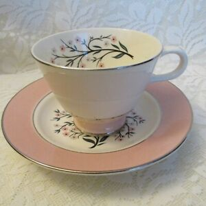 Used Cup Vintage Homer Laughlin Pink Wheat Dishware Cavalier Radiance Berry Bowl and Dessert Plate