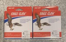 2 Spools Eagle Claw Premium Monofilament Fishing Line 6 Lb 110 Yd Clear Blue