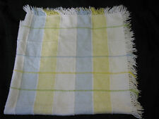 RN 14500 BLUE YELLOW WHITE COTTON WEAVE WOVEN BABY BOY OR UNISEX BLANKET FRINGE