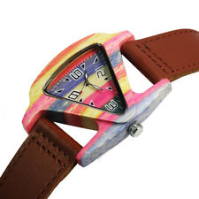 Retro Unisex Womens Mens Skeleton Wooden Watch Leather Triangle Quartz Watches