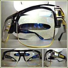 Men's VINTAGE HIP HOP RAPPER Style Clear Lens EYE GLASSES Large Black Gold Frame