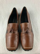 Sesto Meucci Brown Leather Slip on Shoes with Tassles Women's Size 10M