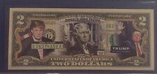 Rare ! DONALD TRUMP President Primary Race GOP Campaign Colorized $2 Dollar Bill