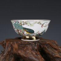 Fine Chinese Qianlong old antique Porcelain famille rose gilt Peacock bowl