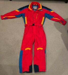 Vintage Mens HARD CORPS One Piece Ski Snowboard Snow Suit 80's Onsie Sz XL EUC!!