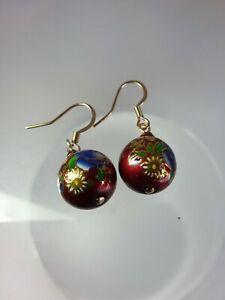 Japanese Burgundy Glass Tensha Earrings