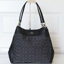 NWT Coach F57612 Lexy Shoulder Bag Outline Signature Black Smoke Jacquard $375