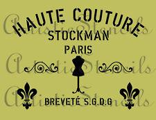 STENCIL Vintage French Paris Couture Sign   10x13