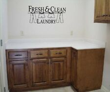 FRESH & CLEAN LAUNDRY VINYL WALL QUOTE DECAL LAUNDRY ROOM HOME CLOTHES WORDS