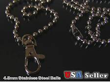 36'' 4.5mm  Stainless Steel Ball Chain Necklace ID Lanyard with trigger Snap.