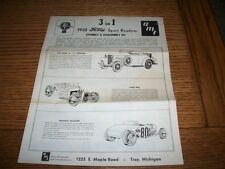 AMT (1960)  1932 FORD  V/8 ROADSTER INSTRUCTIONS/DECALS - O.E.  FOR MODEL KIT