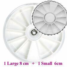 Empty 1x 6cm & 1x 8cm White nail wheel Box display nail art For Gem / Rhinestone
