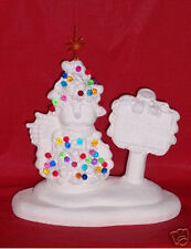 Ceramic Bisque Ready to Paint Snowman with Tree lightsup electric incl