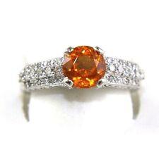 Rond Mandarin Grenat et Diamant Femme Bague Solitaire 18k or Blanc 2,51 Ct
