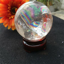 Rare Rainbow Natural Clear Quartz Crystal SPHERE BALL HEALING GEMSTON+stand 59mm