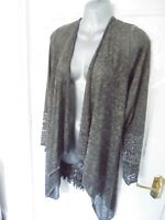 ❤ MADE IN ITALY Size 12 Grey Open Lace Back Lagenlook Cover Cardigan Top