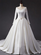 Vintage Satin Wedding Dresses A-line V-neck Long Sleeves Bridal Gowns Custom