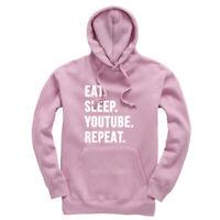 Eat Sleep YouTube Repeat Kids Hoodie Hooded Sweatshirt Ages 3-13