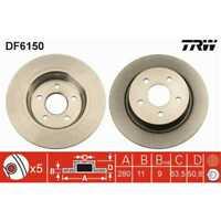 TRW 2x Bremsscheiben Voll lackiert schwarz DF6150