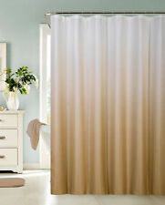 Ombre Waffle Fabric Shower Curtain with 12 Metal Roller Hooks, Gold