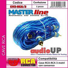CAVO AUDIO STEREO RCA PER AUTO PROLUNGA MASCHIO 3 M PLUG RCA DORATO - MASTERLINE