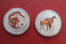 Set Lunar II 2012 Dragon & 2013 Horse 2 oz colored colorized .999 silver coins