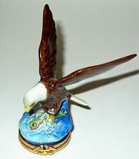 LIMOGES BOX - BALD EAGLE FISHING IN A RIVER - UNITED STATES FLAG & POLE INSIDE